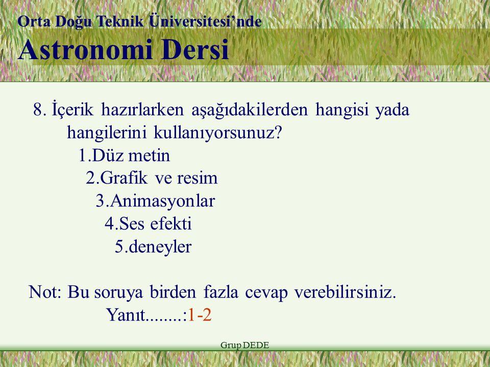 Grup DEDE Orta Doğu Teknik Üniversitesi'nde Astronomi Dersi 8.