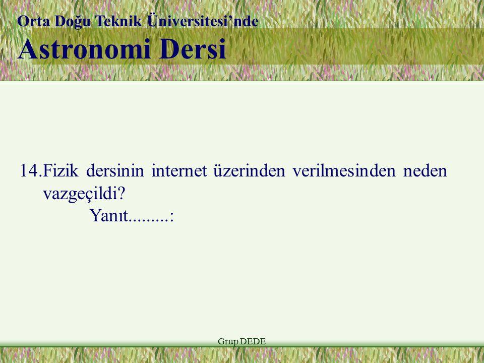 Grup DEDE Orta Doğu Teknik Üniversitesi'nde Astronomi Dersi 14.Fizik dersinin internet üzerinden verilmesinden neden vazgeçildi? Yanıt.........: