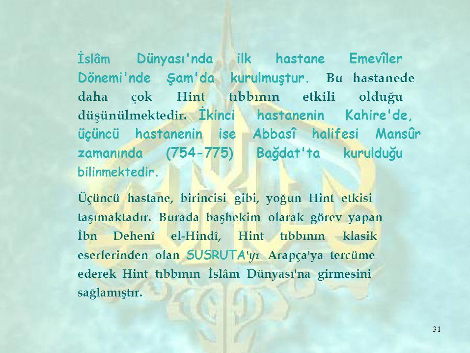 İslâm Dünyası ndailkhastaneEmevîler Dönemi nde Şam da kurulmuştur.