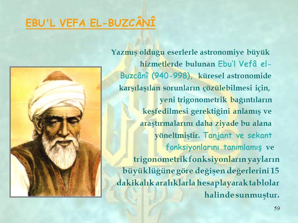 EBU L VEFA EL-BUZCÂNÎ Yazmış olduğu eserlerle astronomiye büyük hizmetlerde bulunan Ebu'l Vefâ el- Buzcânî (940-998), küresel astronomide karşılaşılan sorunların çözülebilmesi için, yeni trigonometrik bağıntıların keşfedilmesi gerektiğini anlamış ve araştırmalarını daha ziyade bu alana yöneltmiştir.