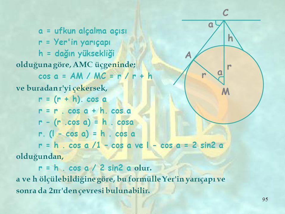 M a = ufkun alçalma açısı r = Yer in yarıçapı a ChCh h = dağın yüksekliği olduğuna göre, AMC üçgeninde; cos a = AM / MC = r / r + h A r a r ve buradan r yi çekersek, r = (r + h).