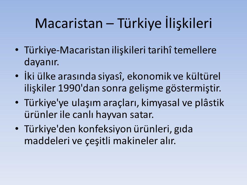 Macaristan – Türkiye İlişkileri Türkiye-Macaristan ilişkileri tarihî temellere dayanır. İki ülke arasında siyasî, ekonomik ve kültürel ilişkiler 1990'