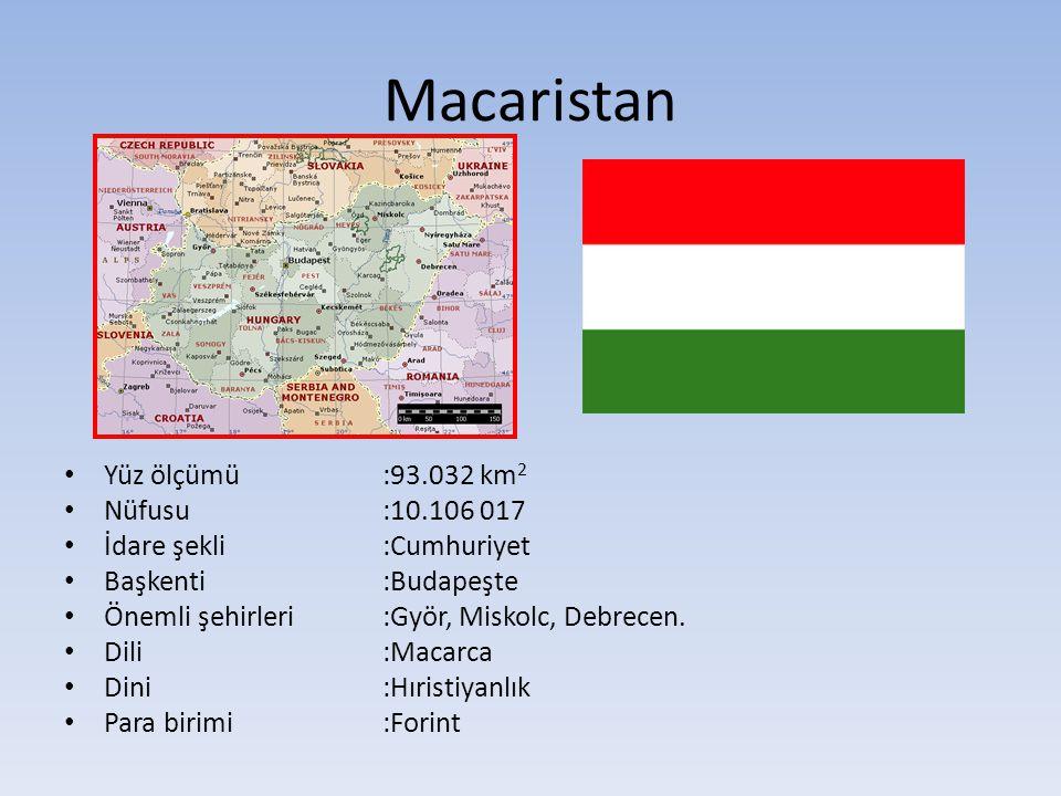 Macaristan Yüz ölçümü:93.032 km 2 Nüfusu:10.106 017 İdare şekli:Cumhuriyet Başkenti:Budapeşte Önemli şehirleri :Györ, Miskolc, Debrecen. Dili:Macarca