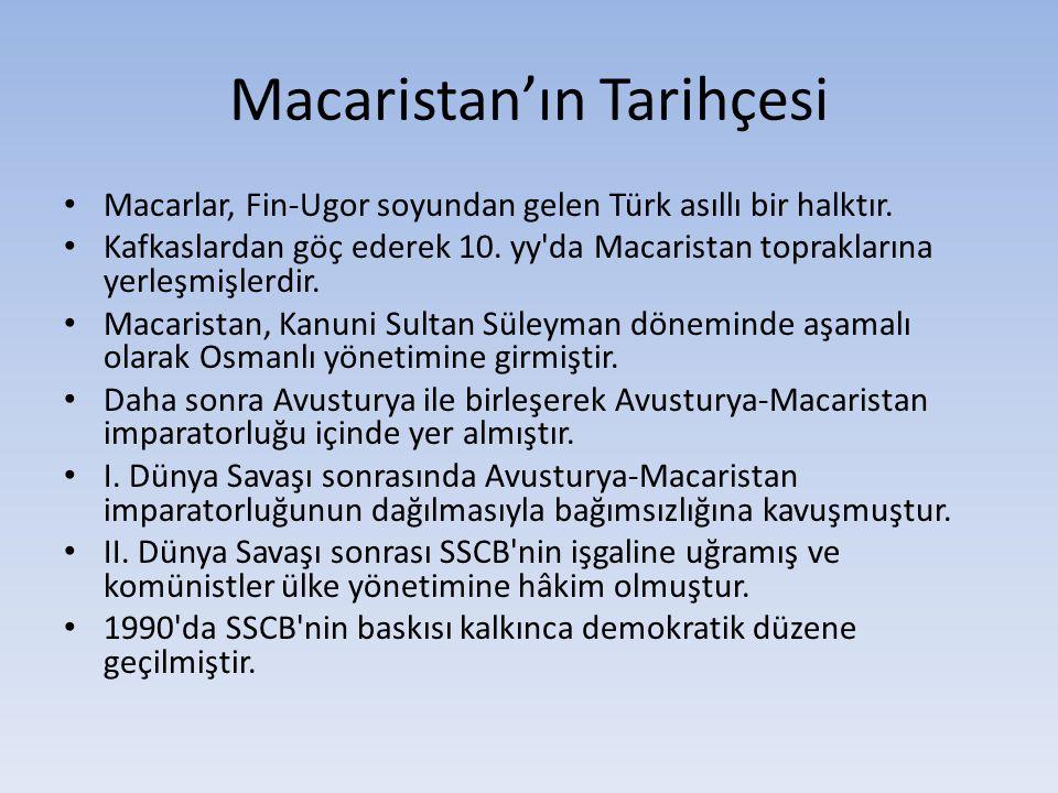 Macaristan'ın Tarihçesi Macarlar, Fin-Ugor soyundan gelen Türk asıllı bir halktır. Kafkaslardan göç ederek 10. yy'da Macaristan topraklarına yerleşmiş