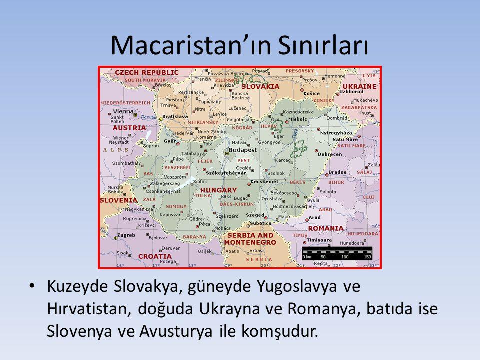 Macaristan'ın Sınırları Kuzeyde Slovakya, güneyde Yugoslavya ve Hırvatistan, doğuda Ukrayna ve Romanya, batıda ise Slovenya ve Avusturya ile komşudur.