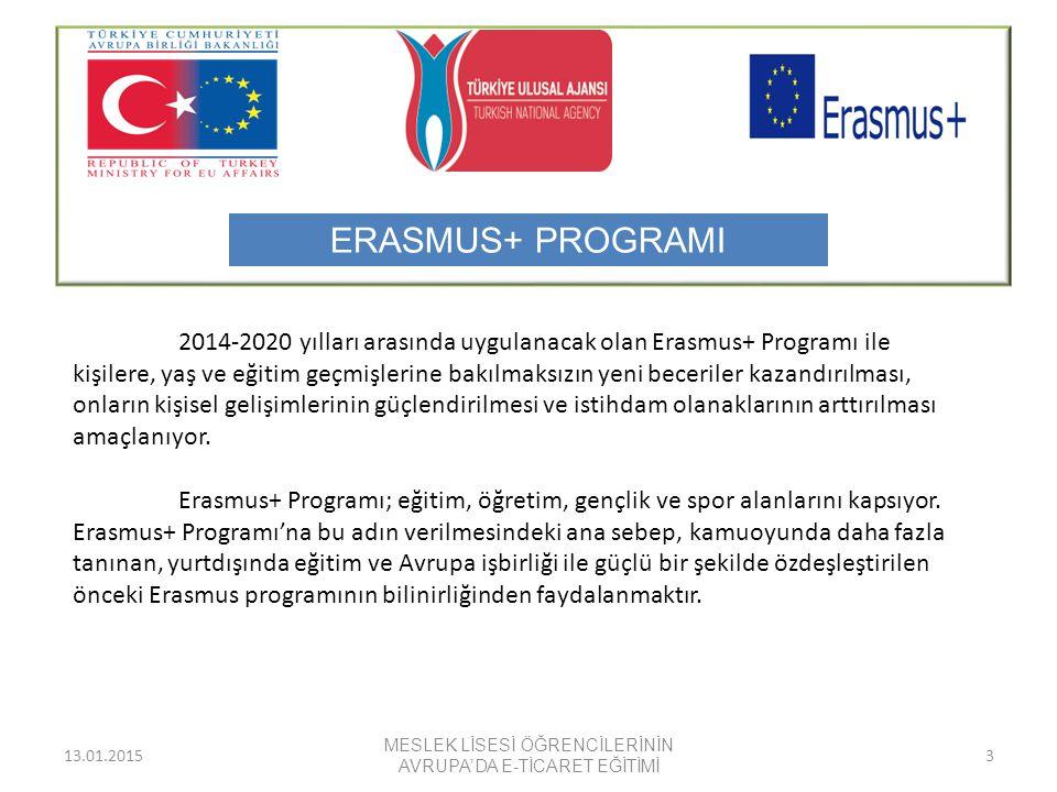 13.01.2015 MESLEK LİSESİ ÖĞRENCİLERİNİN AVRUPA'DA E-TİCARET EĞİTİMİ 3 2014-2020 yılları arasında uygulanacak olan Erasmus+ Programı ile kişilere, yaş