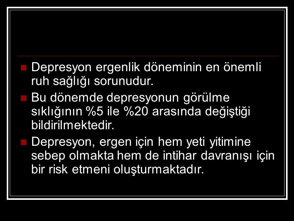 Depresyon ergenlik döneminin en önemli ruh sağlığı sorunudur. Bu dönemde depresyonun görülme sıklığının %5 ile %20 arasında değiştiği bildirilmektedir