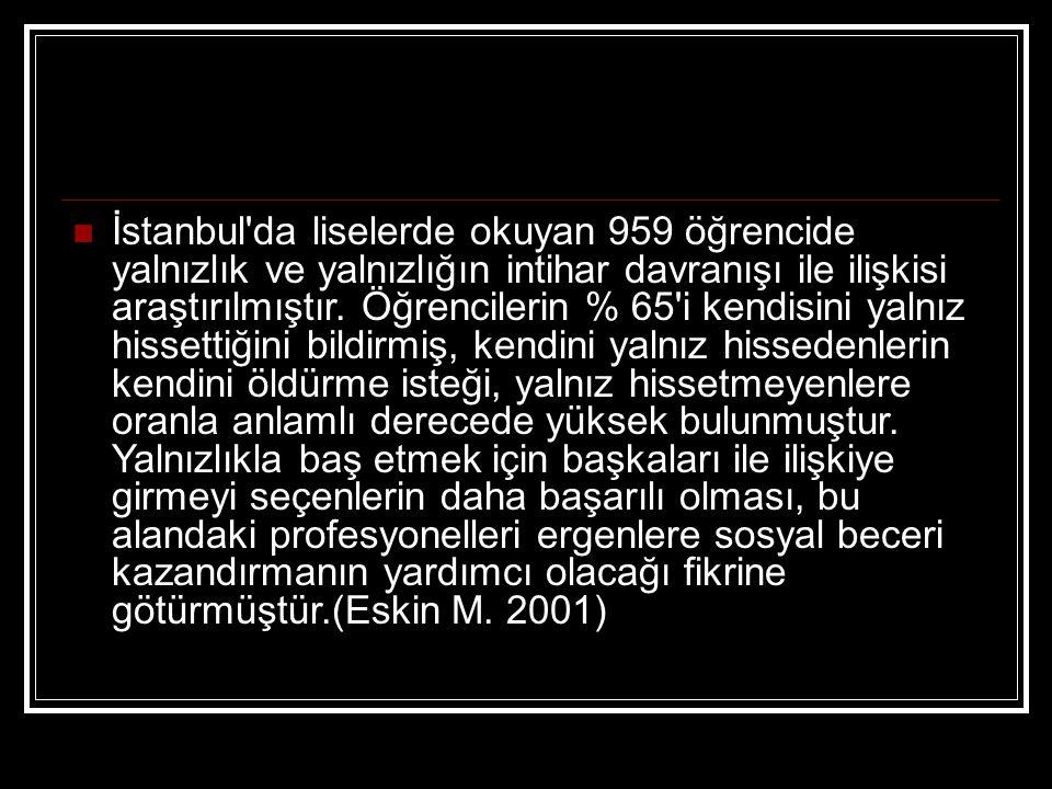 İstanbul'da liselerde okuyan 959 öğrencide yalnızlık ve yalnızlığın intihar davranışı ile ilişkisi araştırılmıştır. Öğrencilerin % 65'i kendisini yaln