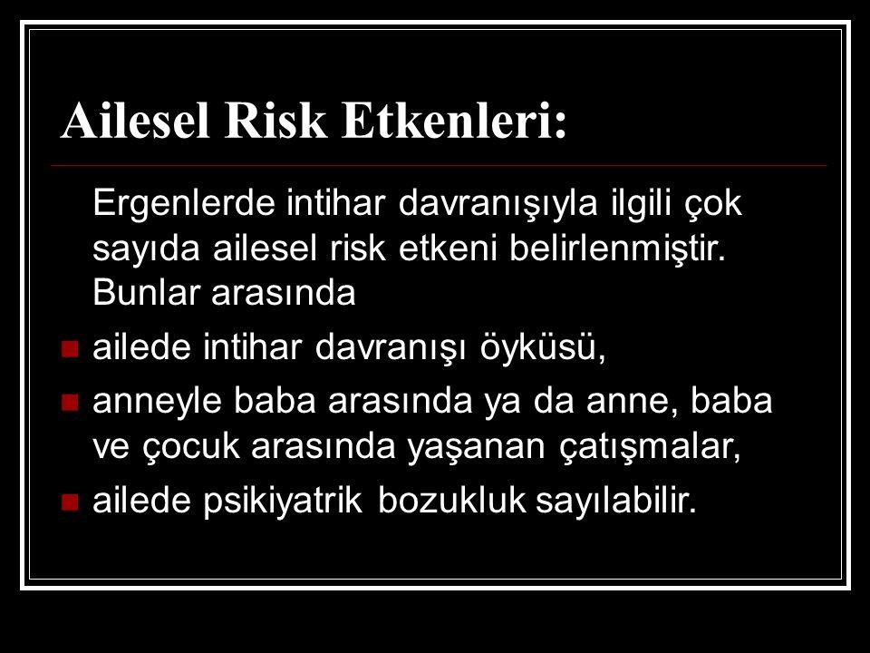 Ailesel Risk Etkenleri: Ergenlerde intihar davranışıyla ilgili çok sayıda ailesel risk etkeni belirlenmiştir. Bunlar arasında ailede intihar davranışı