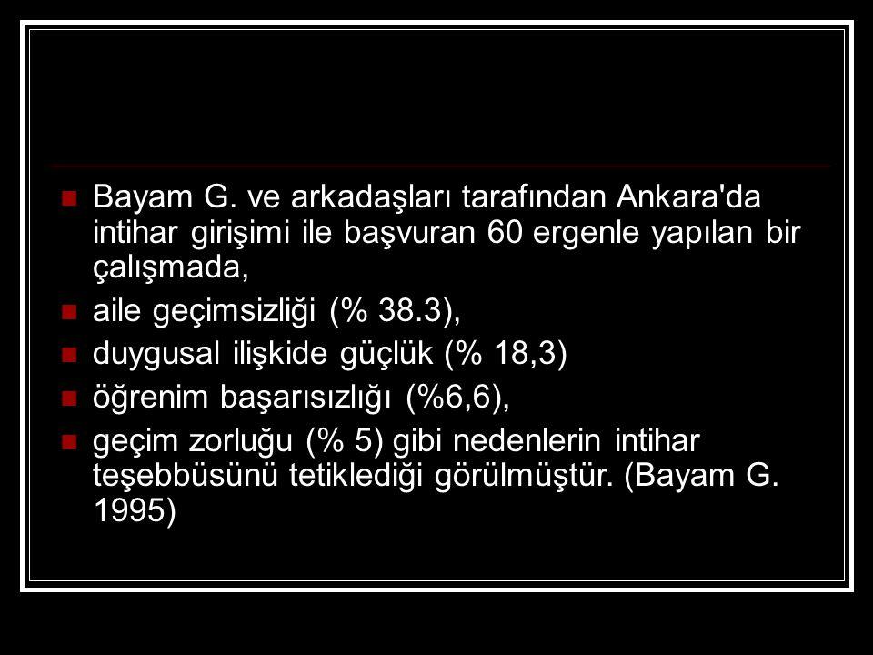 Bayam G. ve arkadaşları tarafından Ankara'da intihar girişimi ile başvuran 60 ergenle yapılan bir çalışmada, aile geçimsizliği (% 38.3), duygusal iliş