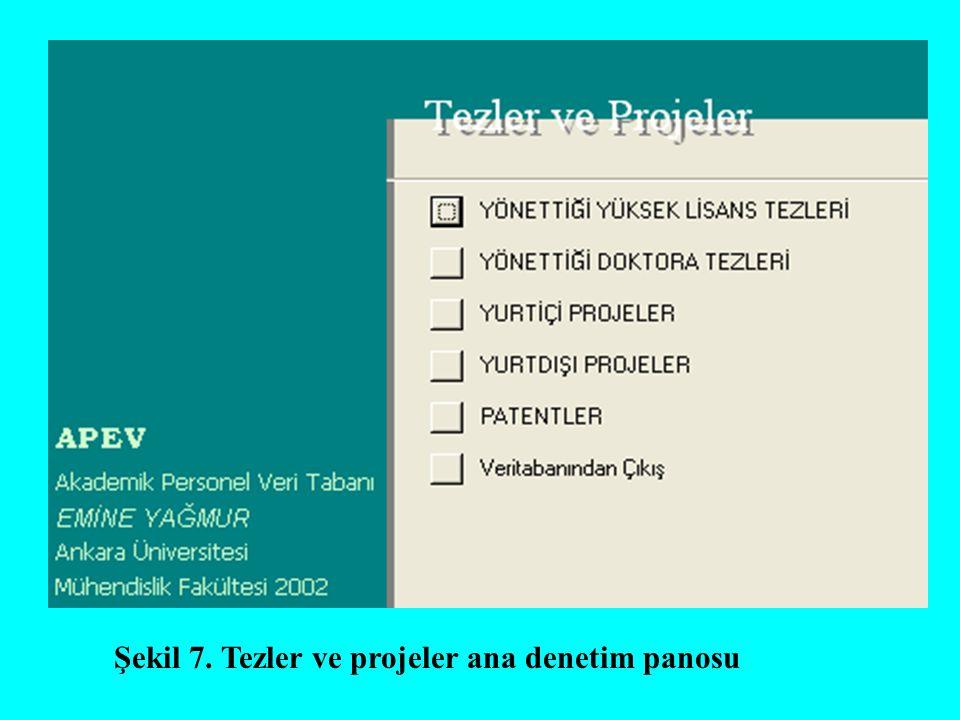 Şekil 7. Tezler ve projeler ana denetim panosu
