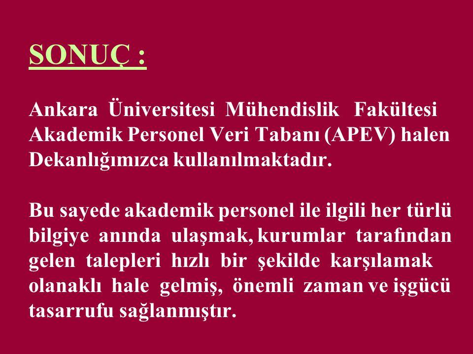 SONUÇ : Ankara Üniversitesi Mühendislik Fakültesi Akademik Personel Veri Tabanı (APEV) halen Dekanlığımızca kullanılmaktadır.