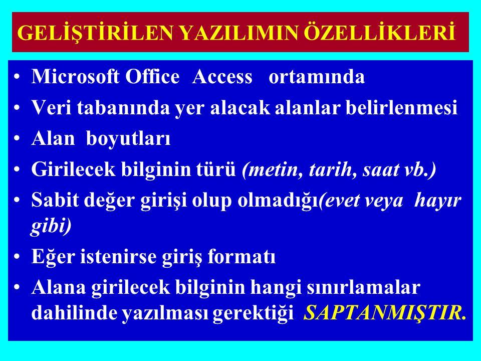 GELİŞTİRİLEN YAZILIMIN ÖZELLİKLERİ Microsoft Office Access ortamında Veri tabanında yer alacak alanlar belirlenmesi Alan boyutları Girilecek bilginin türü (metin, tarih, saat vb.) Sabit değer girişi olup olmadığı(evet veya hayır gibi) Eğer istenirse giriş formatı Alana girilecek bilginin hangi sınırlamalar dahilinde yazılması gerektiği SAPTANMIŞTIR.