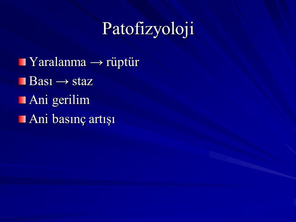 Patofizyoloji Yaralanma → rüptür Bası → staz Ani gerilim Ani basınç artışı
