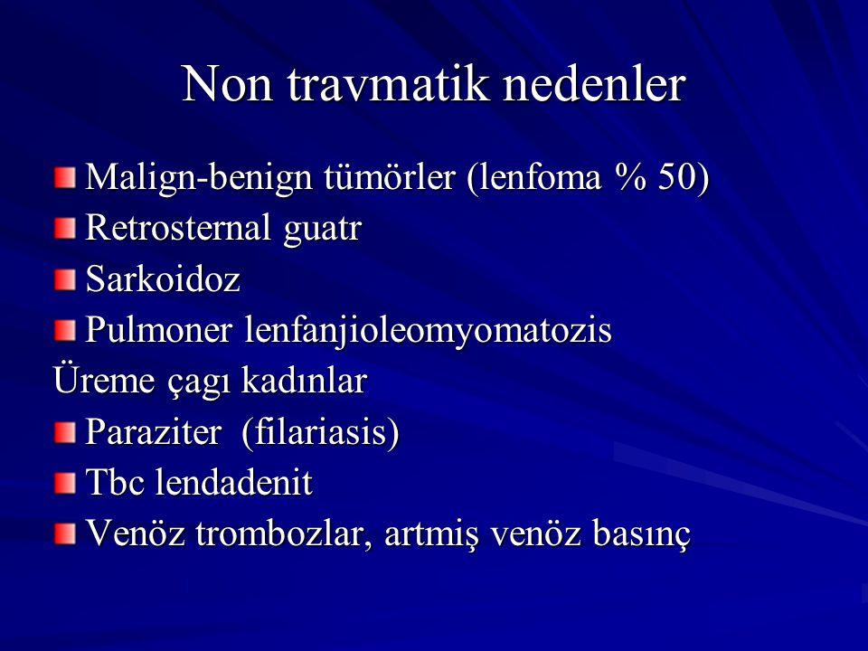 Non travmatik nedenler Malign-benign tümörler (lenfoma % 50) Retrosternal guatr Sarkoidoz Pulmoner lenfanjioleomyomatozis Üreme çagı kadınlar Parazite