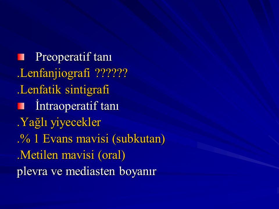 Preoperatif tanı.Lenfanjiografi ??????.Lenfatik sintigrafi İntraoperatif tanı.Yağlı yiyecekler.% 1 Evans mavisi (subkutan).Metilen mavisi (oral) plevr
