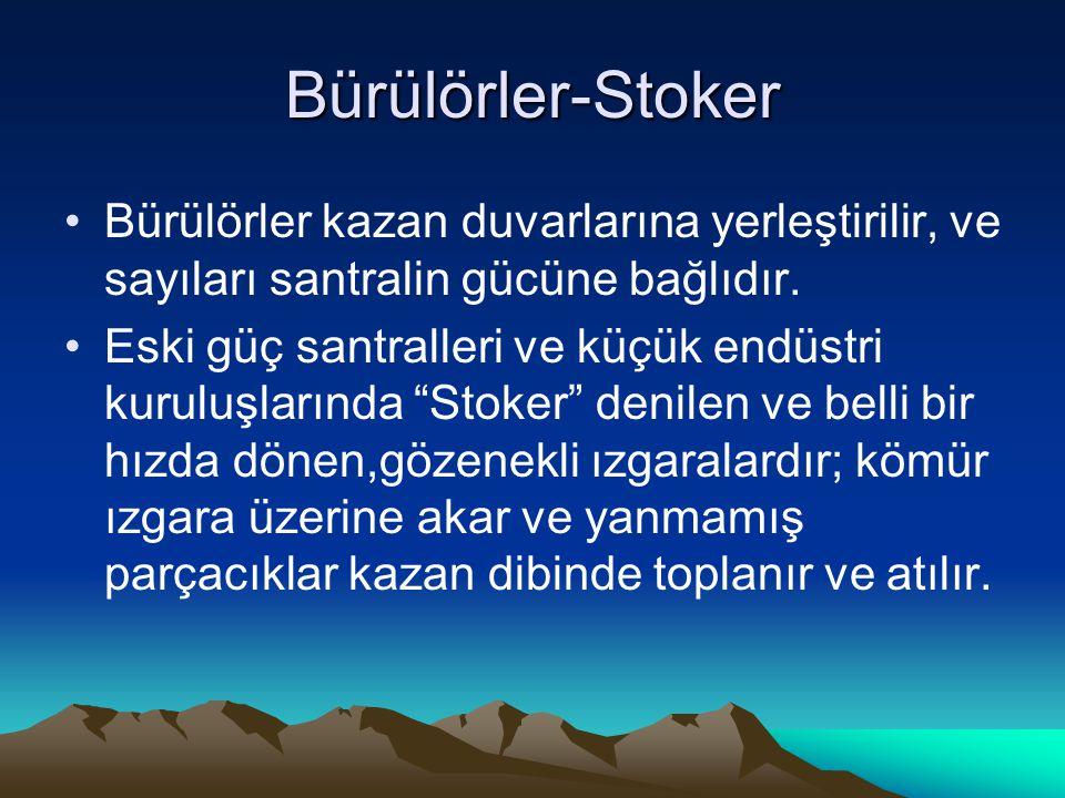 Bürülörler-Stoker Bürülörler kazan duvarlarına yerleştirilir, ve sayıları santralin gücüne bağlıdır. Eski güç santralleri ve küçük endüstri kuruluşlar