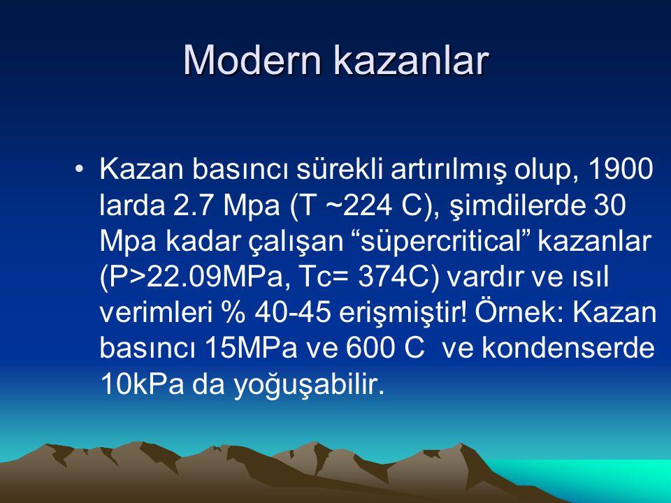 """Modern kazanlar Kazan basıncı sürekli artırılmış olup, 1900 larda 2.7 Mpa (T ~224 C), şimdilerde 30 Mpa kadar çalışan """"süpercritical"""" kazanlar (P>22.0"""
