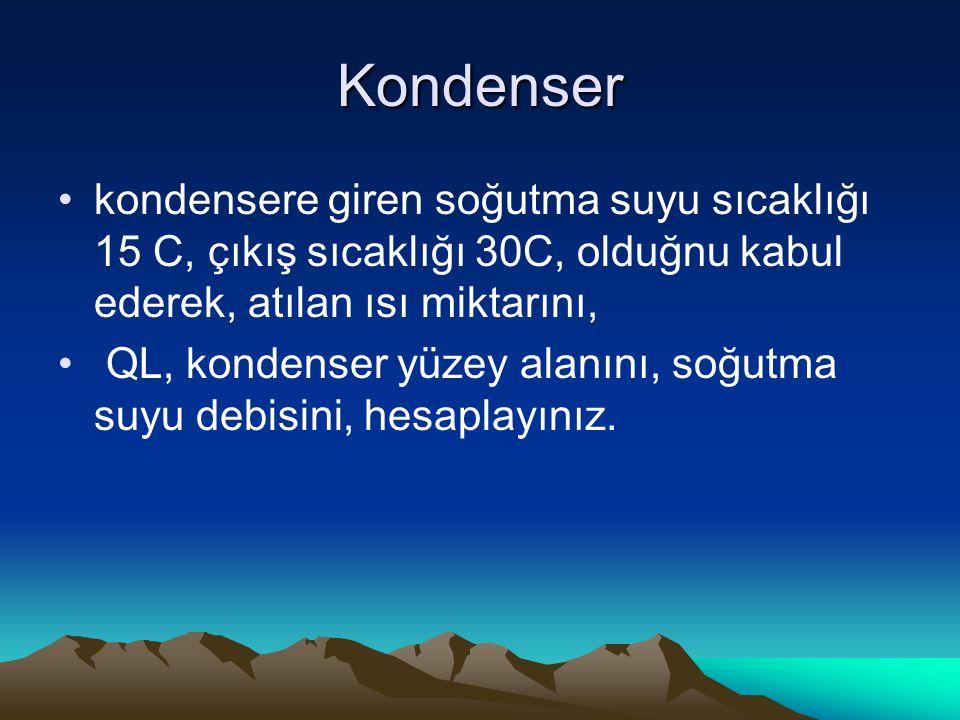 Kondenser kondensere giren soğutma suyu sıcaklığı 15 C, çıkış sıcaklığı 30C, olduğnu kabul ederek, atılan ısı miktarını, QL, kondenser yüzey alanını,