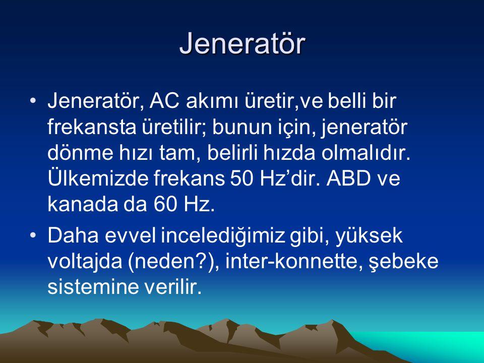 Jeneratör Jeneratör, AC akımı üretir,ve belli bir frekansta üretilir; bunun için, jeneratör dönme hızı tam, belirli hızda olmalıdır. Ülkemizde frekans