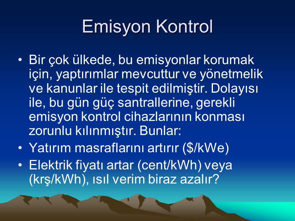 Emisyon Kontrol Bir çok ülkede, bu emisyonlar korumak için, yaptırımlar mevcuttur ve yönetmelik ve kanunlar ile tespit edilmiştir. Dolayısı ile, bu gü