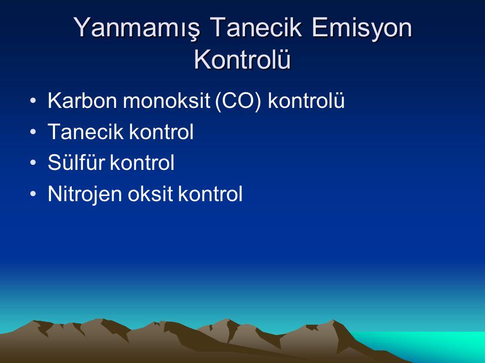 Yanmamış Tanecik Emisyon Kontrolü Karbon monoksit (CO) kontrolü Tanecik kontrol Sülfür kontrol Nitrojen oksit kontrol