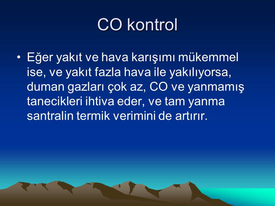 CO kontrol Eğer yakıt ve hava karışımı mükemmel ise, ve yakıt fazla hava ile yakılıyorsa, duman gazları çok az, CO ve yanmamış tanecikleri ihtiva eder
