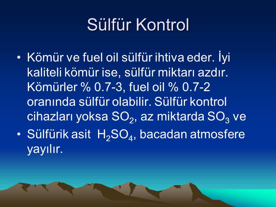 Sülfür Kontrol Kömür ve fuel oil sülfür ihtiva eder. İyi kaliteli kömür ise, sülfür miktarı azdır. Kömürler % 0.7-3, fuel oil % 0.7-2 oranında sülfür