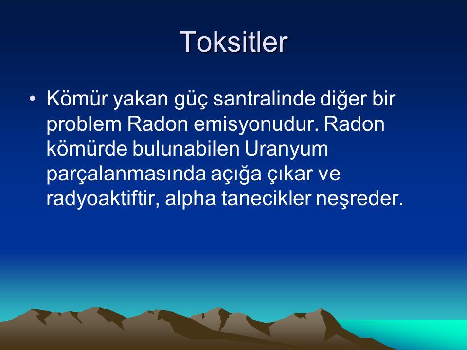 Toksitler Kömür yakan güç santralinde diğer bir problem Radon emisyonudur. Radon kömürde bulunabilen Uranyum parçalanmasında açığa çıkar ve radyoaktif