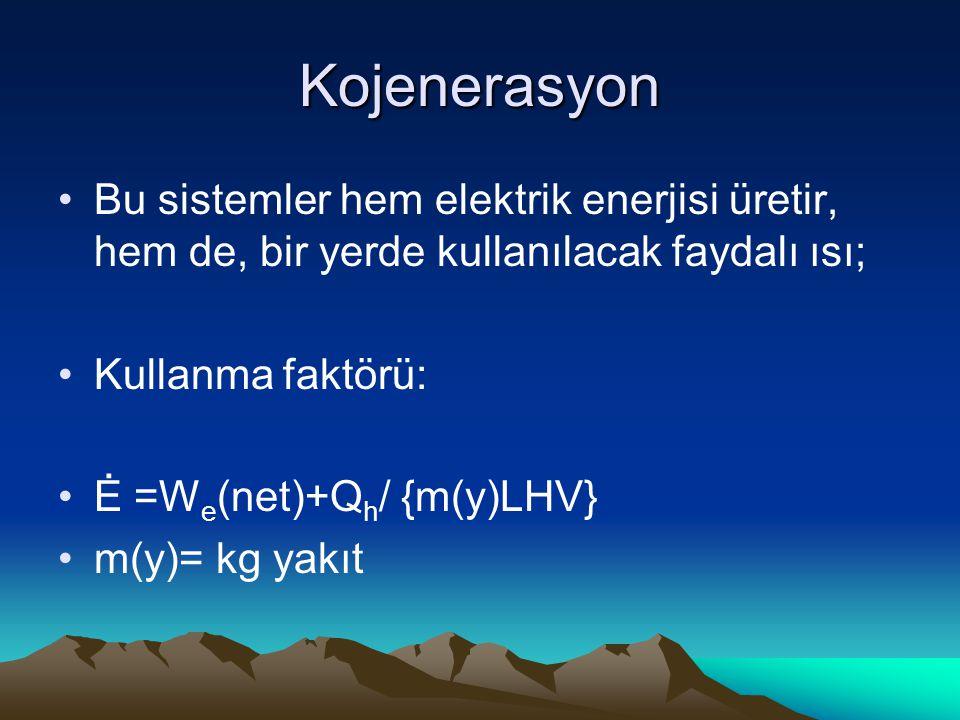 Kojenerasyon Bu sistemler hem elektrik enerjisi üretir, hem de, bir yerde kullanılacak faydalı ısı; Kullanma faktörü: Ė =W e (net)+Q h / {m(y)LHV} m(y