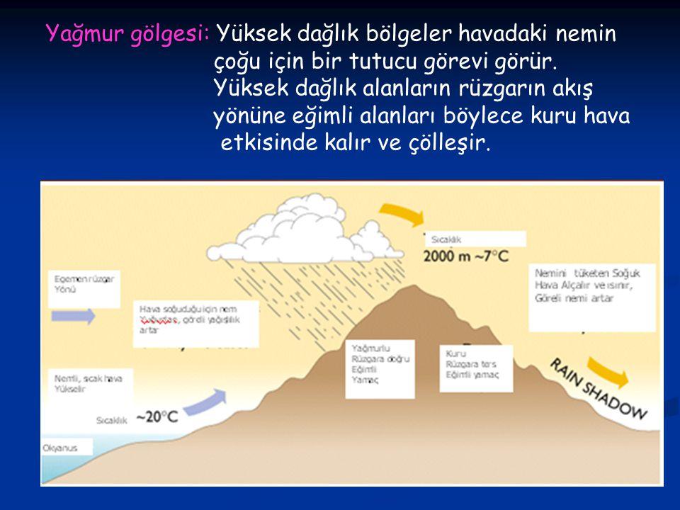 Yağmur gölgesi: Yüksek dağlık bölgeler havadaki nemin çoğu için bir tutucu görevi görür.