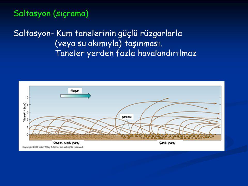 Saltasyon (sıçrama) Saltasyon- Kum tanelerinin güçlü rüzgarlarla (veya su akımıyla) taşınması.