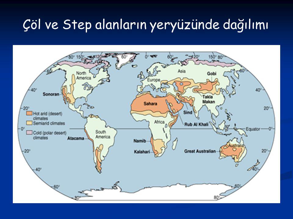 Çöl ve Step alanların yeryüzünde dağılımı