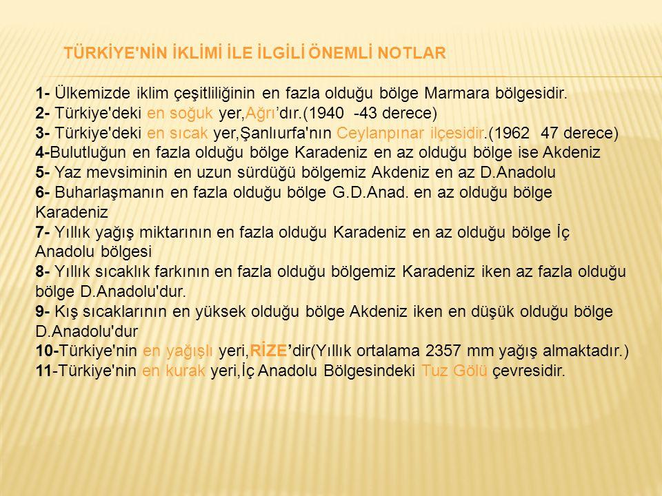 TÜRKİYE'NİN İKLİMİ İLE İLGİLİ ÖNEMLİ NOTLAR 1- Ülkemizde iklim çeşitliliğinin en fazla olduğu bölge Marmara bölgesidir. 2- Türkiye'deki en soğuk yer,A