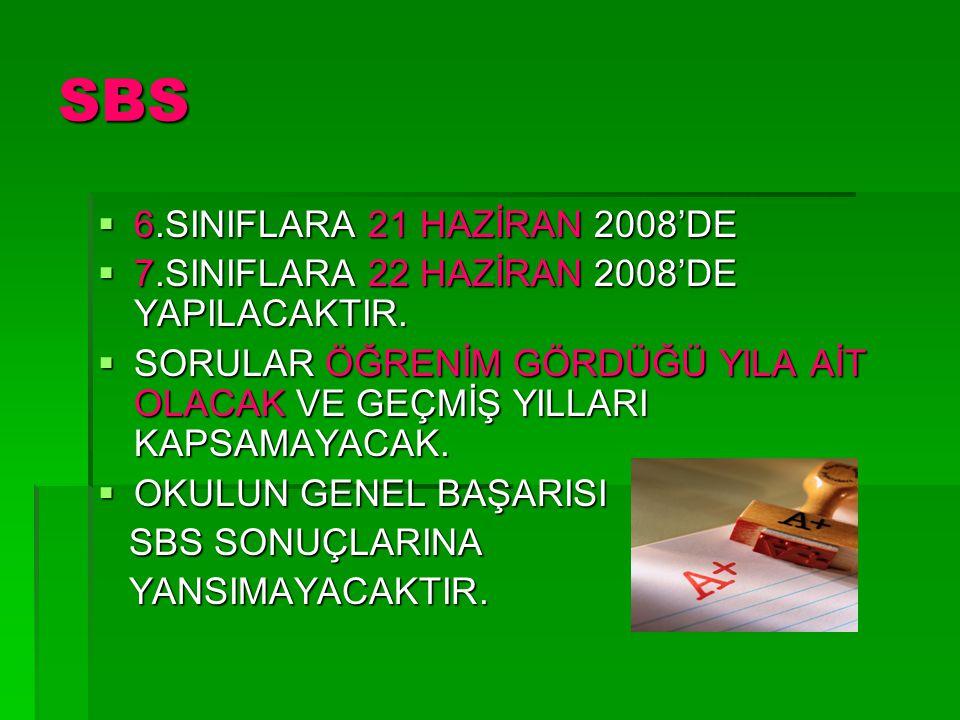 SBS  6.SINIFLARA 21 HAZİRAN 2008'DE  7.SINIFLARA 22 HAZİRAN 2008'DE YAPILACAKTIR.