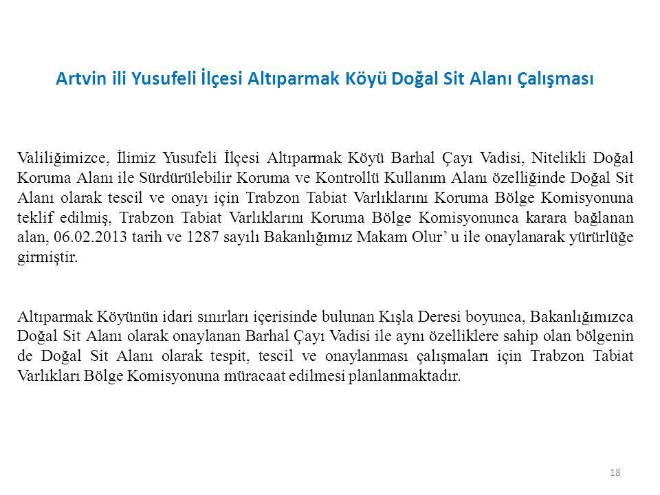 18 Valiliğimizce, İlimiz Yusufeli İlçesi Altıparmak Köyü Barhal Çayı Vadisi, Nitelikli Doğal Koruma Alanı ile Sürdürülebilir Koruma ve Kontrollü Kullanım Alanı özelliğinde Doğal Sit Alanı olarak tescil ve onayı için Trabzon Tabiat Varlıklarını Koruma Bölge Komisyonuna teklif edilmiş, Trabzon Tabiat Varlıklarını Koruma Bölge Komisyonunca karara bağlanan alan, 06.02.2013 tarih ve 1287 sayılı Bakanlığımız Makam Olur' u ile onaylanarak yürürlüğe girmiştir.