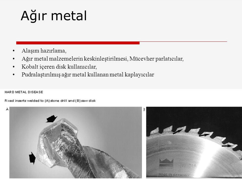 Ağır metal Alaşım hazırlama, Ağır metal malzemelerin keskinleştirilmesi, Mücevher parlatıcılar, Kobalt içeren disk kullanıcılar, Pudralaştırılmış ağır
