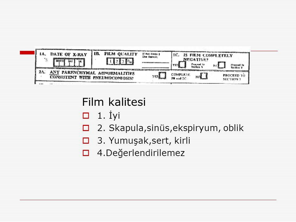 Film kalitesi  1. İyi  2. Skapula,sinüs,ekspiryum, oblik  3. Yumuşak,sert, kirli  4.Değerlendirilemez