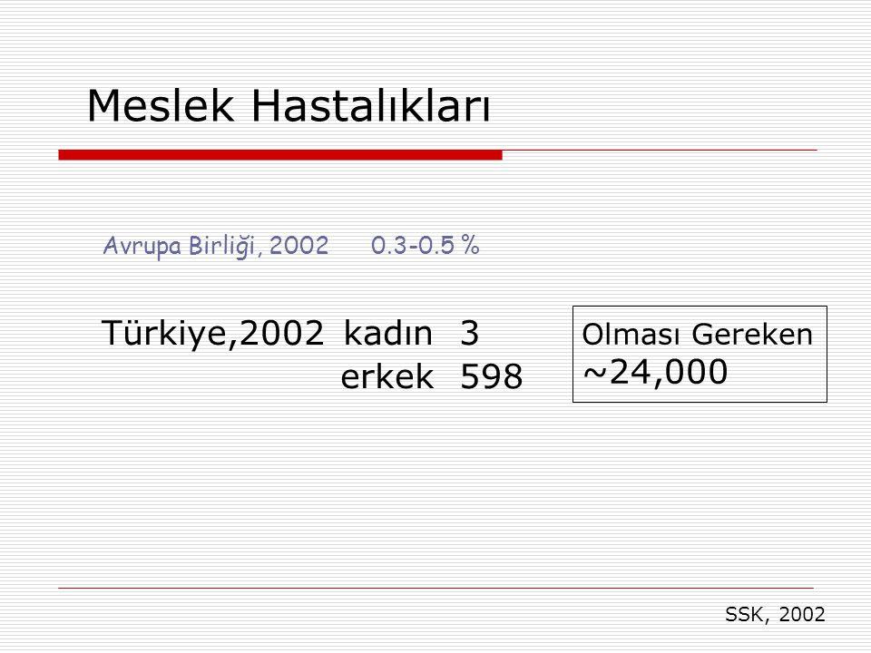 Avrupa Birliği, 2002 0.3-0.5 % Türkiye,2002 kadın 3 erkek 598 Olması Gereken ~24,000 Meslek Hastalıkları SSK, 2002