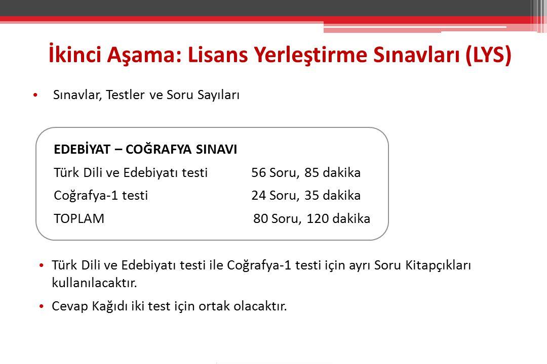 Sınavlar, Testler ve Soru Sayıları Sınavlar, Testler ve Soru Sayıları EDEBİYAT – COĞRAFYA SINAVI Türk Dili ve Edebiyatı testi56 Soru, 85 dakika Coğraf