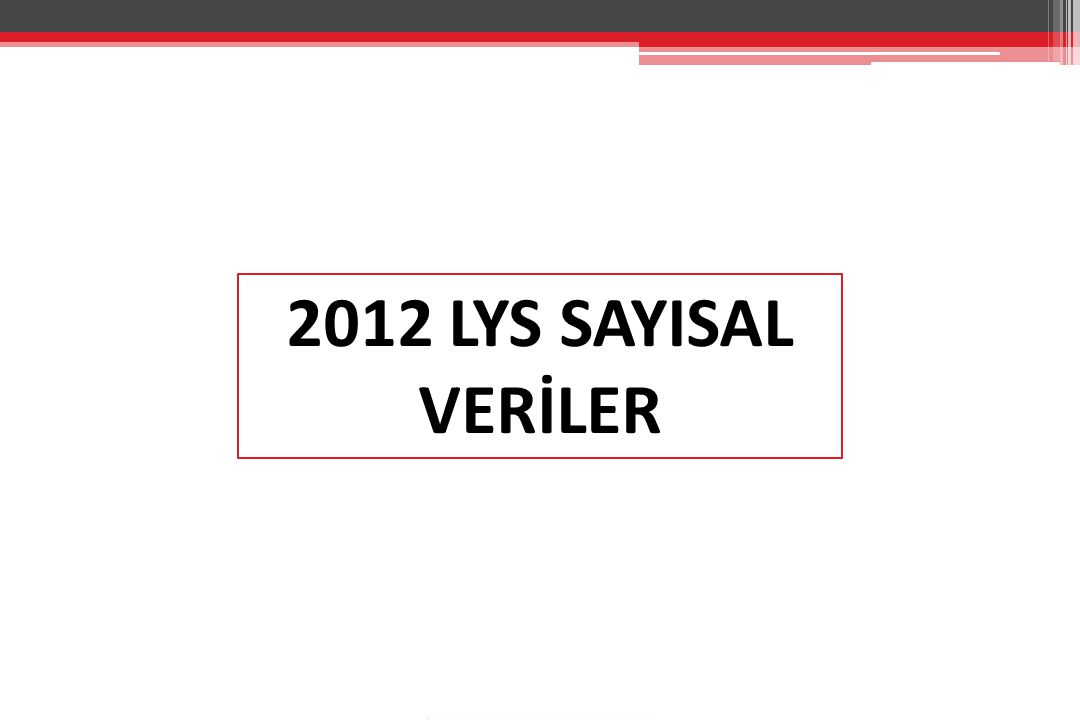 2012 LYS SAYISAL VERİLER