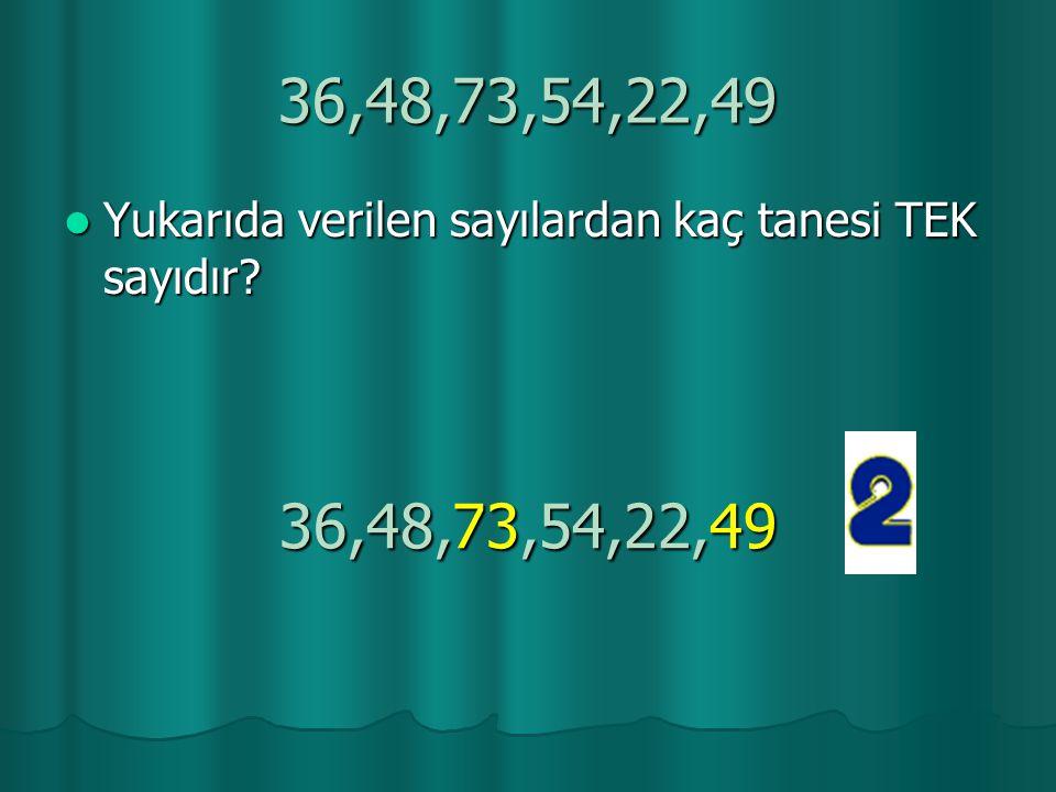 36,48,73,54,22,49 Yukarıda verilen sayılardan kaç tanesi TEK sayıdır 36,48,73,54,22,49