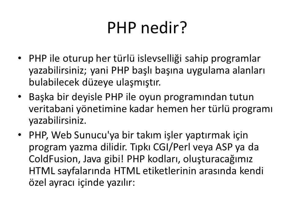 PHP nedir? PHP ile oturup her türlü islevselliği sahip programlar yazabilirsiniz; yani PHP başlı başına uygulama alanları bulabilecek düzeye ulaşmıştı