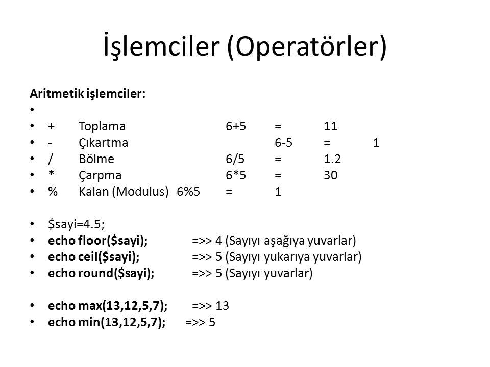 İşlemciler (Operatörler) Aritmetik işlemciler: +Toplama6+5=11 -Çıkartma6-5=1 /Bölme6/5=1.2 *Çarpma6*5=30 %Kalan (Modulus)6%5=1 $sayi=4.5; echo floor($sayi); =>> 4 (Sayıyı aşağıya yuvarlar) echo ceil($sayi); =>> 5 (Sayıyı yukarıya yuvarlar) echo round($sayi); =>> 5 (Sayıyı yuvarlar) echo max(13,12,5,7); =>> 13 echo min(13,12,5,7); =>> 5