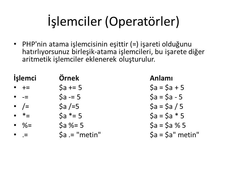İşlemciler (Operatörler) PHP nin atama işlemcisinin eşittir (=) işareti olduğunu hatırlıyorsunuz birleşik-atama işlemcileri, bu işarete diğer aritmetik işlemciler eklenerek oluşturulur.