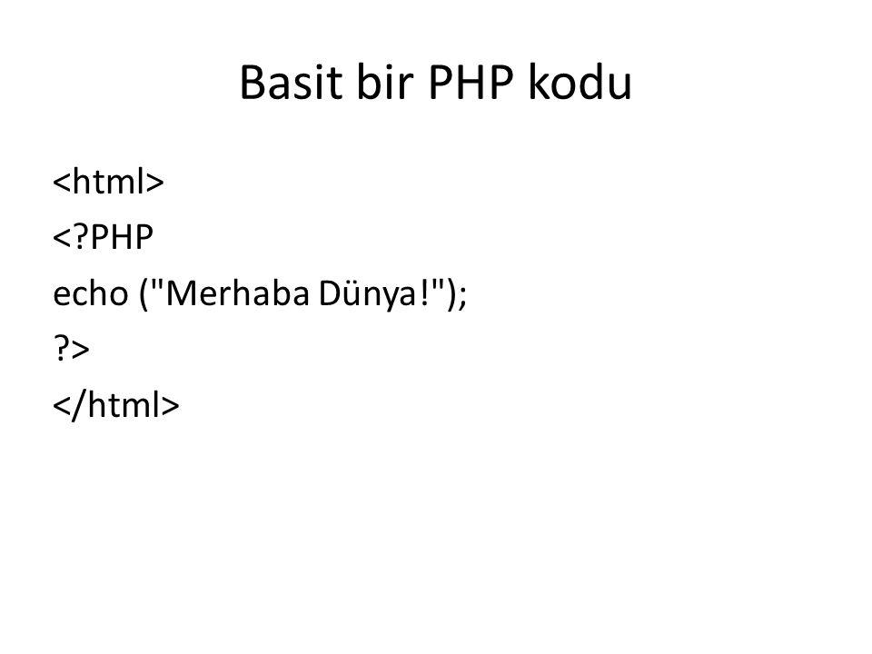 Basit bir PHP kodu <?PHP echo ( Merhaba Dünya! ); ?>