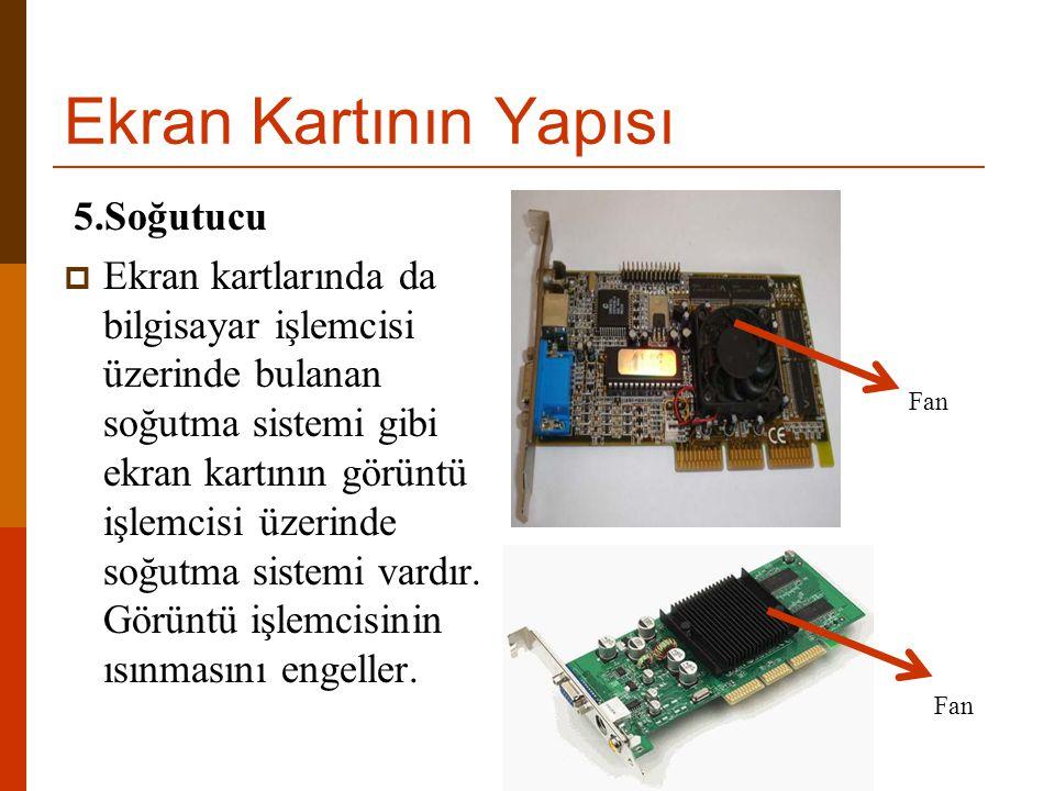 Ekran Kartının Yapısı 5.Soğutucu  Ekran kartlarında da bilgisayar işlemcisi üzerinde bulanan soğutma sistemi gibi ekran kartının görüntü işlemcisi üz