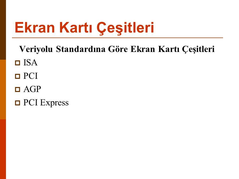 Ekran Kartı Çeşitleri Veriyolu Standardına Göre Ekran Kartı Çeşitleri  ISA  PCI  AGP  PCI Express