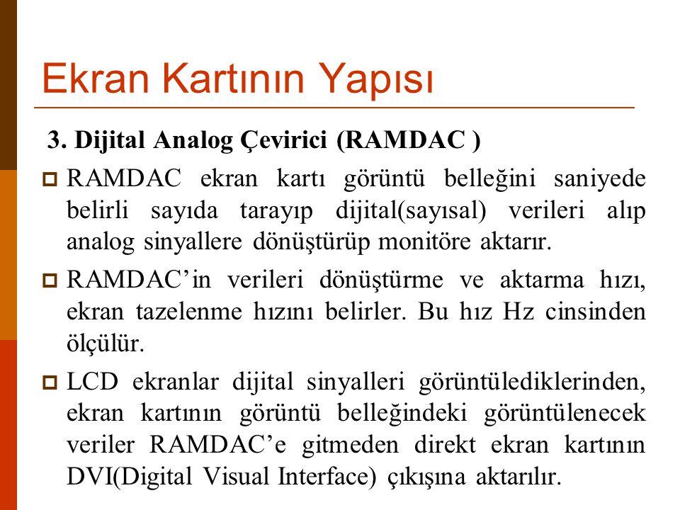 Ekran Kartının Yapısı 3. Dijital Analog Çevirici (RAMDAC )  RAMDAC ekran kartı görüntü belleğini saniyede belirli sayıda tarayıp dijital(sayısal) ver