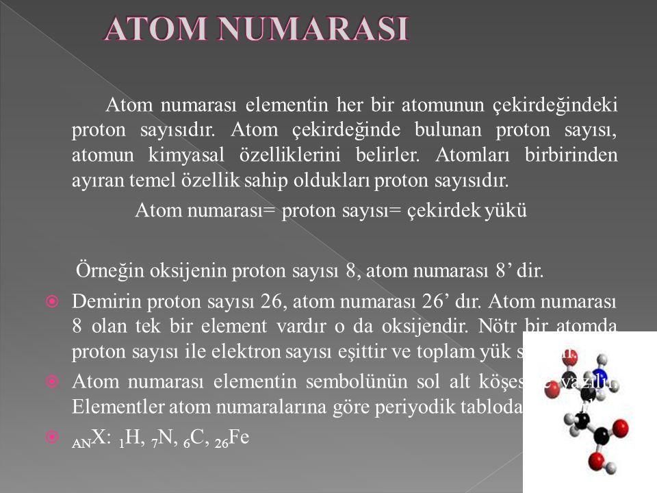 Atom numarası elementin her bir atomunun çekirdeğindeki proton sayısıdır. Atom çekirdeğinde bulunan proton sayısı, atomun kimyasal özelliklerini belir